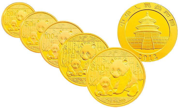 2012年熊猫金币 套装 金套猫